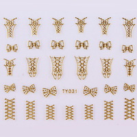 NEW 20 Designs 3D Nail Art Stickers Metallic Gold Corsets Zipper/Zips TY Free Shipping ---Joey Shop