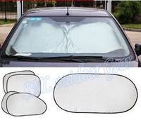 6 in 1 sets of car sun shade thicker insulation sun block front window summer sun files visor