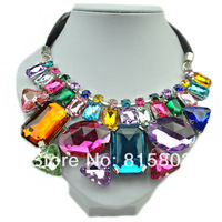 Free Shipping!  Trendy Jewelry 2014 Colorful Acrylic Crystal Pendant Statement Necklace High Quality Jewelery for Women