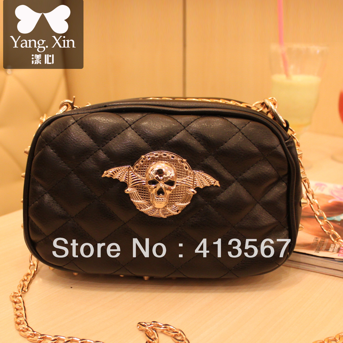 Mini cross-body bag women's corss shoulder bag chain with skull and rivet bag small handbags free ship(China (Mainland))