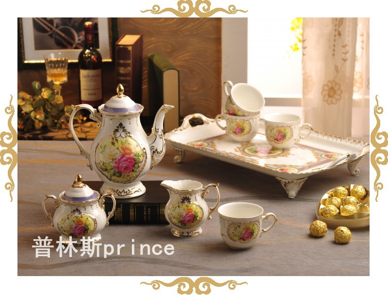 Tea, coffee tea set tea low bone porcelain furnishings Europeum Hotel supplies flower coffee tea set(China (Mainland))