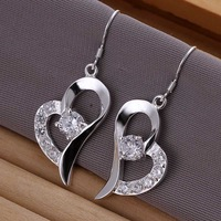 Free shipping 925 sterling silver jewelry earring fine bright heart drop jewelry earring wholesale and retail SMTE169