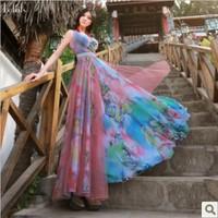 2014 summer women's ultra long tank dress bohemia flower print maxi dress plus size fashion exquisite chiffon full dress