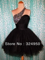 2014 Anniversary Sales Promotion A-Line One-Shoulder Mini Organza Sexy Lovely Short Sparkly Crystal Prom Dress YZ051508