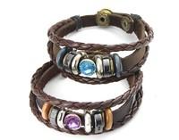 promotions free shipping lovers hand woven leather bracelet fashion vintage national style couple charm bracelet RuYiSL126