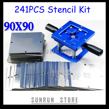 Freeshipping 2013 Reballing Stencil Kit 241PCS 90x90 BGA Stencils Templates + 90x90 Reballing Station Blue