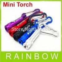 50pcs/lot RA Mini 1 LED Flashlight Carabiner Torch Clip Keychain Camping Hiking Key Chain Hook Free Shipping