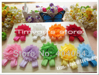"HOT 100pcs=50pairs/lot baby girls flower sandals 2.5"" shabby Shabby Flower foot  walker shoes Barefoot Sandals"