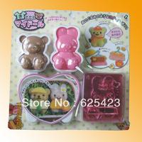 Hot Sale! Free Shipping Brand New ABS Cartoon Rabbit and Bear Shape DIY Plastic Sushi Mold Sushi Tools & Rice Balls Mould Set
