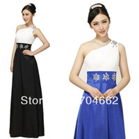 2013 new arrival slant one-shoulder long floor-length contrast elegant fomal evening dress for bridal and party