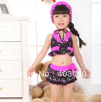 2013 newest black 2-6 year girl 3 suit swimwear&Swimming cap,kid swimsuit,baby bikini&Free shipping&1lot/5pcs wholesales