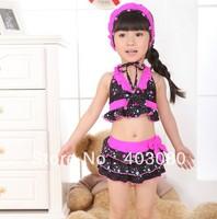 2013 newest black 2-6 year girl 3 suit swimwear&Swimming cap,kid swimsuit,baby bikini&Free shipping&1lot/5pcs wholesales