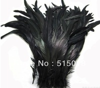 Free shipping Wholesale 100pcs a lot 12-14inches/30-35cm black Dyeing Loose Rooster Tail Feathers For Dress/Hats Trims