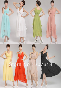 New Fashion Women Sexy Deep V-Neck Vest Chiffon Dress Plus Size Elegant Summer Maxi Dresses Beach Wear