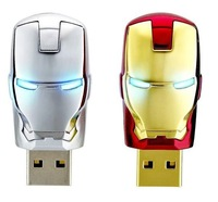 Wholesale Iron Man LED USB Flash Drive 1GB 2GB 4GB 8GB 16GB 32GB 64GB (Golden,Silver)