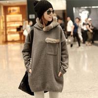 2014 Fall Autumn Winter New brand plus size big size XL XXL XXXL 4XL women dark gray/brown fur collar sweatshirt hoodie