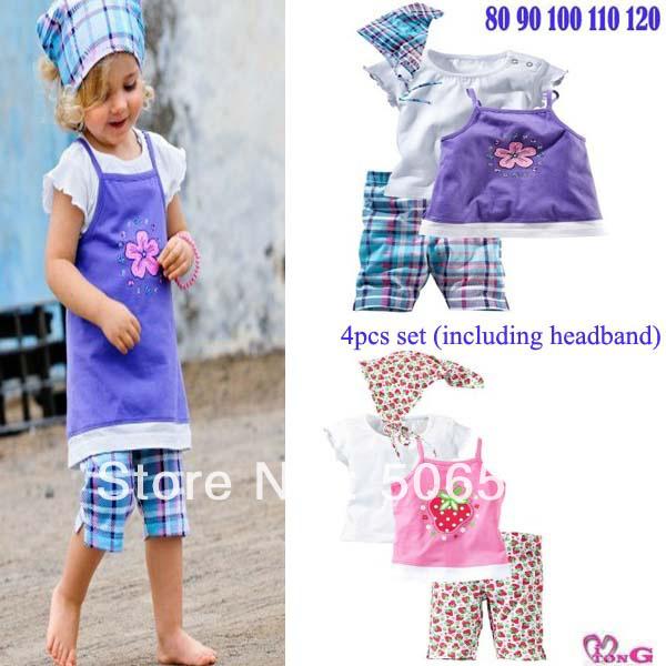 Wholesale!Free shipping 2013 summer cute girl clothing set (headband+short sleeve+halter top+pants) kids garment(China (Mainland))