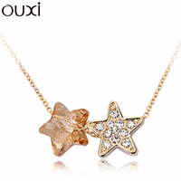 Made With Verified Swarovski Elements Crystal NLA007 Double Stars Pendant Necklace Thick 18K Gold Plated Free Shipping