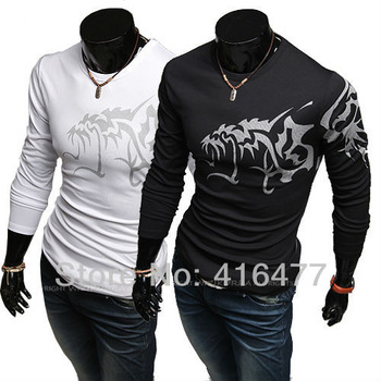 Hot style wolf Tattoo men slim long-sleeve round neck T-shirt men shirts Tees Tops for men