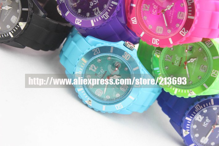 Free shipping 50pcs/lot New Colorful ICE Style Silicone Sili Forever Calendar Wrist Watch(OPP bag packaging), gift watch, 001(China (Mainland))