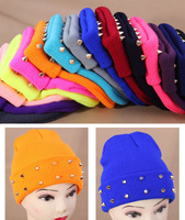 2014 New Fashion Autumn and winter knitted jelly fluo men's hat plastic rivets women's dress cap 15colors Free Shipping,MZ05
