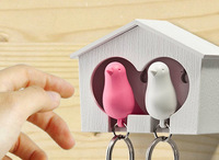 bird house keychain Free Shipping cute couple sparrow key ring with whistle/ have big bird's nest hang on the wall keychain
