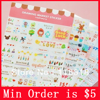 Min Order is $5,(1 Lot=6 Pcs) DIY Scrapbooking Products Diary Stickers PVC Albums Decoration Sticker Papers