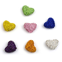 Free Shipping New Crystal Rhinestone Shamballa Heart Beads 23*18mm Hole Through Beads 20pcs/lot Wholesale 8 Color Choice!