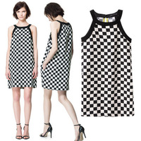 2013 ZA Summer New Brand Women's Black&White Plaid Printed Dress,Ladies Silm Spaghetti Strap Vest Evening/Party Dress lyq62
