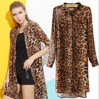 Summer Dress 2014 Women Animal Tiger Leopard Print Gauze Chiffon Dress Long Sleeve Knee-length Casual Dress Party Dresses