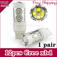 [Free Shipping 2pcs/lot ]60w High Power Cree LED Vehicles Car Turn Signal Brake Lights Bulbs 7440 7443 t20 SMD