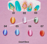 Free Shipping 6*8mm Oval Shape Nail Art Rhinestone Decoration 3D Cat Eye Gem CellPhone Decoration DIY Decoration 100PCS/PACK#02