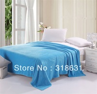 Free Shipping Solid Color Sky Blue 200gsm Weight Soft Coral Fleece Fabric Home Blanket Single/Twin/Full/Queen [12 Colors]