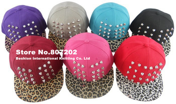 2013  Womens Punk Rock Rivets studded  hat Spikes hat unisex Baseball Caps black golden hiphop hip-hop flat leopard print  hats