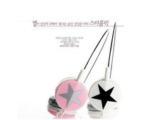 Hot sale! Mix style 3.5mm Big Star Pattern Stereo Earphone On Ear Headphone for MP3 MP4 Phone Free shipping
