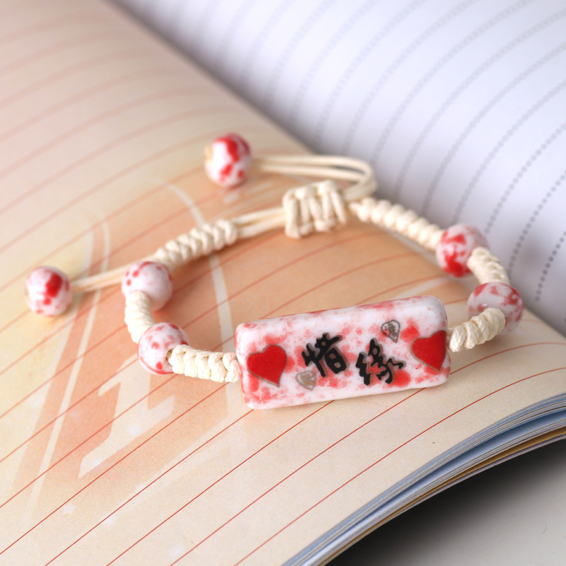 Free shipping Hand-woven small deserve to act the role ceramic bracelet hand jewellery elegant personality Sinicism accessories(China (Mainland))