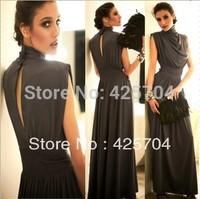 Free shipping Fashion slim waist turtleneck dress dinner party bridesmaid formal dress for women