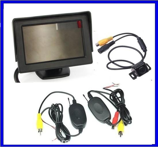 Car Wireless Reversing Camera Kit 4.3 LCD display+170 reverse car rear camera backup camera Angle parking sensor car camera(China (Mainland))