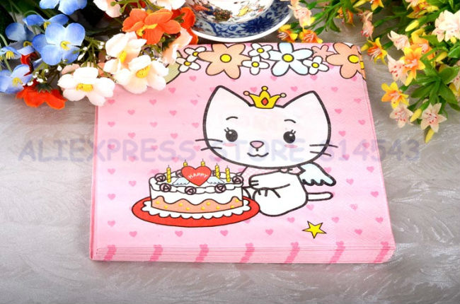 Lovely Angel Cat Napkins ( Tissue) 20 Sheets For Wedding Decoration Pary Favors Stuff Supplies Free shipping(China (Mainland))