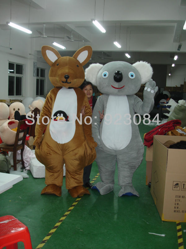 Australia Mascots Kangaroo Koala Cartoon Mascot Costumes Halloween Outfit Fancy Dress Suit Free Shipping(China (Mainland))