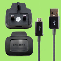 Genuine Original Usb Cable + UK Flug Wall Charger For Samsung Galaxy S2 S3 S4 I9100 I9300 I9500 Black&White