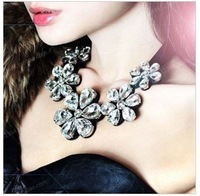 Min order $15(mixed item)Fashion big luxury crystal acrylic camellia ribbon short necklace freeshipping