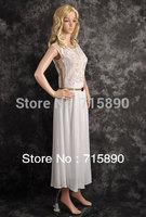 2013  fashion Elegant draped  embroider mesh dress O-neck sleeveless Princess Chiffon Maxi  dress with belt free shipping DS114