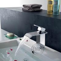Free Shipping [B&R]single holder single hole bathroom sink waterfall faucet waterfall basin mixer taps  LT-502
