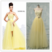 Real Photos Two Piece Sexy Removable Skirt  Lace Short Front Long Back Cocktail Dress 2013(COSH-1010)