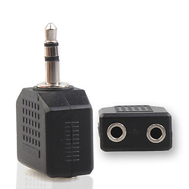 Free Shipping 2 Female Audio Splitter to 3.5mm Male Jack Adapter(China (Mainland))