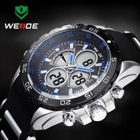 Free Shipping Elegant Blue WEIDE Branded Men's Multifunction Quartz Analog & Digital Sports WristWatch 30m Water Resistant