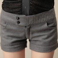 2014 NEW Autumn Winter fashion Women's elegant woolen shorts Turn-Up Straight Boot Cut Casual Short pants free shipping 1801