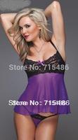 Accept Drop Free Shipping Solid  Lingerie Purple Open Sex Lady  Chemises  Sleepwear Womens