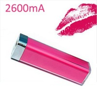 Free shipping 2600mAh lipstick power bank colorful Universal Portable Bank 5pcs/lot